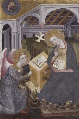 Annunciation, Angel Gabriel Kneeling to Mary by Pedro Serra