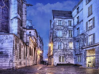Cobblestone Street in The Marais District of Paris