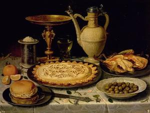 Still Life with a Tart, Roast Chicken, Bread, Rice and Olives by Peeters