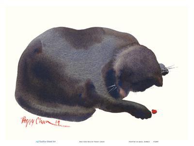 Boo And Bug - Hawaiian Black Cat with Lady Bug by Peggy Chun