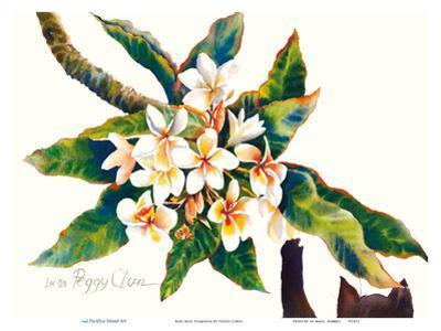Boo And Plumeria - Hawaiian Black Cat by Peggy Chun