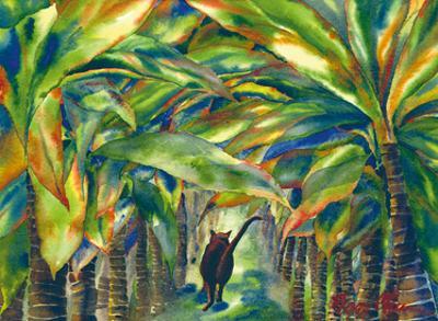 Carol's Lanai - Hawaiian Black Cat in Palm Trees by Peggy Chun