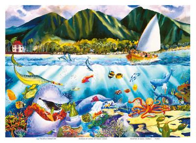 Dinner at Seven - Hawaiian Fish Feast - Marine Life Sea Banquet by Peggy Chun