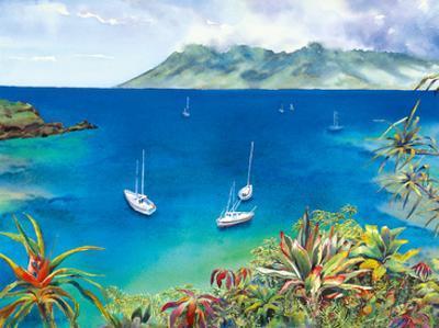 Dream Reef - Hawaiian Islands - Sailboats Anchored in Peaceful Bay by Peggy Chun