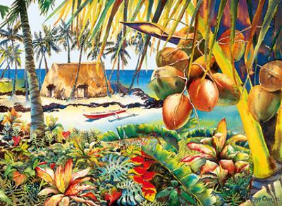 Island Bounty - Traditional Hawaiian Thatched Grass Hale (House) by Peggy Chun