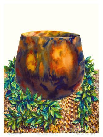 Island Heirlooms - Hawaiian Koa Wood Bowl, Lauhala Mat, Ti Leaf Lei by Peggy Chun