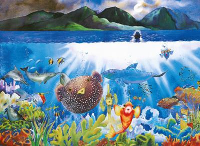 Passion Moon - Hawaiian Puffer Fish by Peggy Chun
