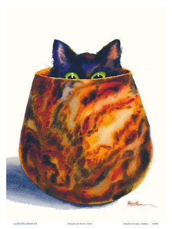 Peekaboo - Hawaiian Black Cat - Koa Wood Bowl by Peggy Chun