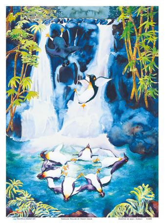 Penguin Follies - Playful Penguins in Hawaiian Waterfall by Peggy Chun