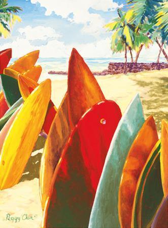 Surfboards - Hawaiian Stacked Surfboards by Peggy Chun