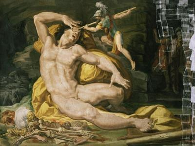 Ulysses and Polyphemus (Detail Showing Fresco During Restoration in May 1995)