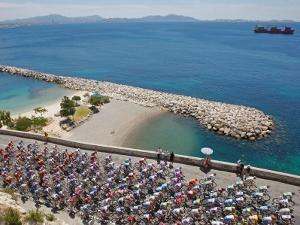 Peloton Along Mediterranean Sea, Third Stage of Tour de France, Marseille, July 7, 2009