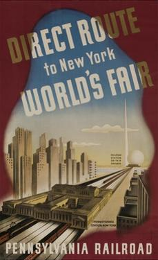Pennsylvania Railroad Travel Poster, Direct Route to New York World's Fair