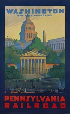 Pennsylvania Railroad Travel Poster, Washington the City Beautiful