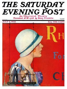 """""""Billboard Painters,"""" Saturday Evening Post Cover, July 9, 1932 by Penrhyn Stanlaws"""
