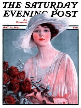 """""""Bouquet of Roses,"""" Saturday Evening Post Cover, May 24, 1924 by Penrhyn Stanlaws"""