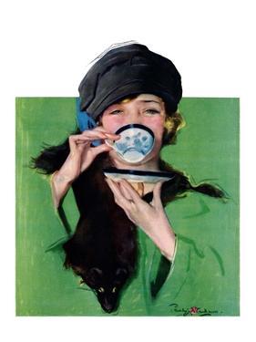 """Elegant Lady Drinking Cup of Tea,""February 20, 1926 by Penrhyn Stanlaws"