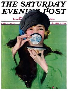 """""""Elegant Lady Drinking Cup of Tea,"""" Saturday Evening Post Cover, February 20, 1926 by Penrhyn Stanlaws"""