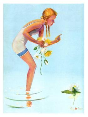 """""""Girl and Water Lilies,""""September 7, 1935 by Penrhyn Stanlaws"""