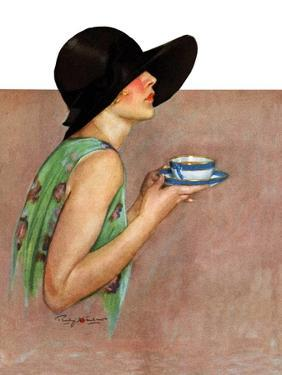 """""""Lady in Wide Brim Hat Holding Tea Cup,""""March 24, 1928 by Penrhyn Stanlaws"""