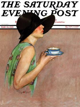 """""""Lady in Wide Brim Hat Holding Tea Cup,"""" Saturday Evening Post Cover, March 24, 1928 by Penrhyn Stanlaws"""