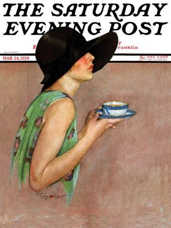 """""""Lady in Wide Brim Hat Holding Tea Cup,"""" Saturday Evening Post Cover, March 24, 1928"""