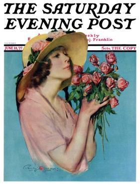 """Pink Rose Bouquet,"" Saturday Evening Post Cover, June 18, 1927 by Penrhyn Stanlaws"