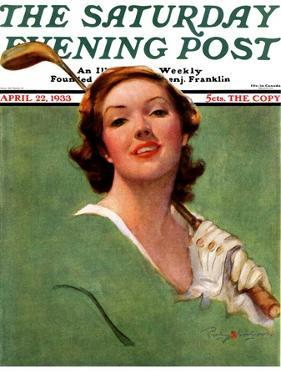 """""""Portrait of Lady Golfer,"""" Saturday Evening Post Cover, April 22, 1933 by Penrhyn Stanlaws"""