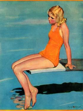 """Sitting on the Diving Board,""August 19, 1933 by Penrhyn Stanlaws"