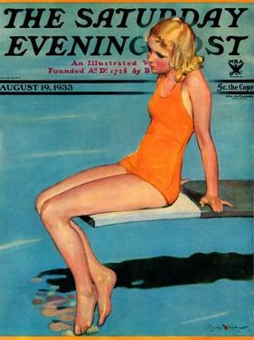"""""""Sitting on the Diving Board,"""" Saturday Evening Post Cover, August 19, 1933 by Penrhyn Stanlaws"""