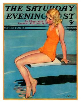 """Sitting on the Diving Board,"" Saturday Evening Post Cover, August 19, 1933 by Penrhyn Stanlaws"