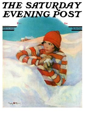 """""""Snowball Fight,"""" Saturday Evening Post Cover, February 18, 1928 by Penrhyn Stanlaws"""