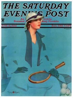 """""""Tennis in Blue,"""" Saturday Evening Post Cover, June 16, 1934 by Penrhyn Stanlaws"""