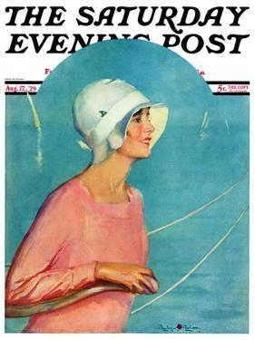 """""""Woman at the Rudder,"""" Saturday Evening Post Cover, August 17, 1929 by Penrhyn Stanlaws"""