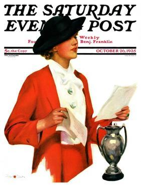"""""""Woman Reading Letter,"""" Saturday Evening Post Cover, October 26, 1935 by Penrhyn Stanlaws"""