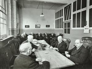 Pensioners Playing Cards in the Mens Day Room, Lambeth Home for Aged Poor, London, 1935