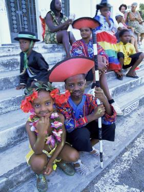 People Dressed Ready for the Carnival Procession, Guadeloupe, West Indies, Caribbean by S Friberg