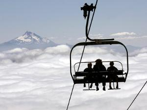 People on the Magic Mile Ski Lift at Timberline Lodge on Mount Hood