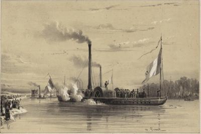 People on the Shore Waving Off a Steamship