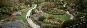 People Walking in Butchart Gardens, Brentwood Bay, Vancouver Island, British Columbia, Canada