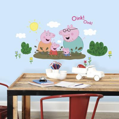 Peppa Pig - Family Muddy Puddles Peel and Stick Giant Wall Decals