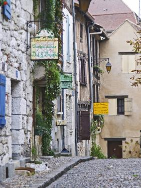 Cobblestone Street in Old Town with Stone Houses, Le Logis Plantagenet Bed and Breakfast by Per Karlsson