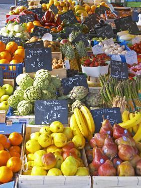 Market Stalls with Produce, Sanary, Var, Cote d'Azur, France by Per Karlsson