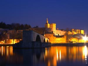 Pope's Palace on the Rhone and Pont Saint St. Benezet, Avignon, Vaucluse, Provence, France by Per Karlsson