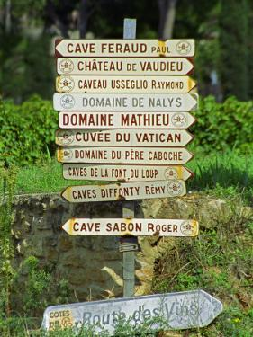 Road Signs to Wine Producers in Chateauneuf-Du-Pape, Provence, France by Per Karlsson