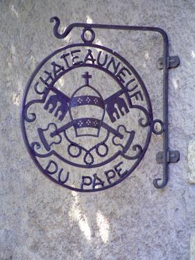 """Sign """"Chateauneuf Du Pape"""", Pope's Mitra and Saint Peter's Keys, Chateauneuf-Du-Pape by Per Karlsson"""