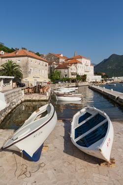 Perast, Kotor, Montenegro. View of the town on the Bay of Kotor.