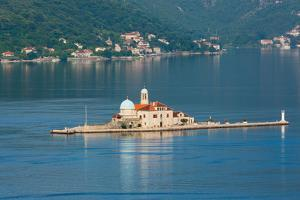 Perast, Montenegro. Bay of Kotor. The artificial island of Our Lady of the Rock.