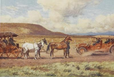 Car Meets a Carriage in the Australian Outback by Percy F.s. Spence