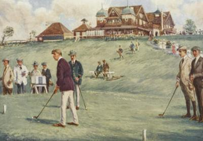 Golfers Golfing at the Royal Sydney Golf Club Links by Percy F.s. Spence